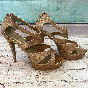 Charlotte Russe Gold Sparkly Heels, Size 10